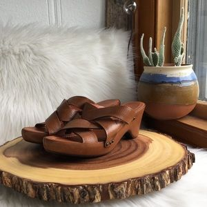 Frye soft leather strappy wedge sandals
